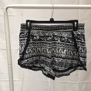 black and white patterned soft shorts